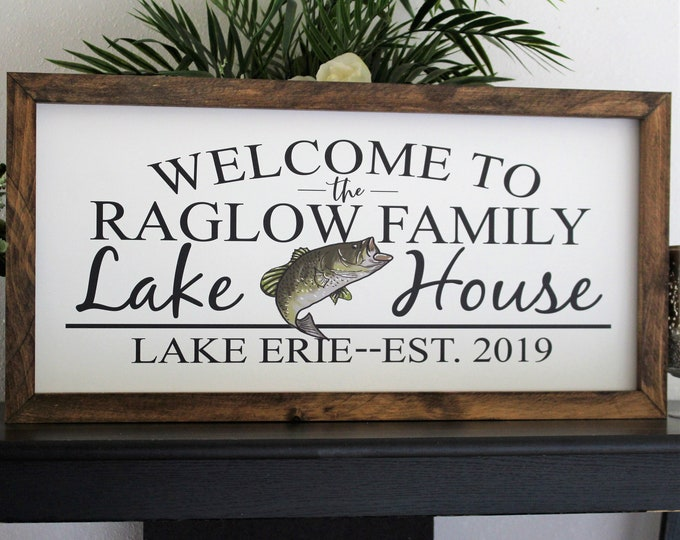 Lake house decor sign-welcome to our lake house-personalized lake sign-lake house decor-lake home wood welcome to our home on the lake
