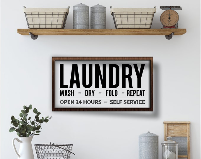 Laundry room sign-laundry room wall decor-farmhouse style sign-laundry wood sign-wall sign laundry room-housewarming gift-framed laundry