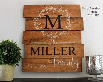 Family monogram wooden sign-rustic family wooden sign-gift wood plank sign-wall decor living room-pallet family established sign