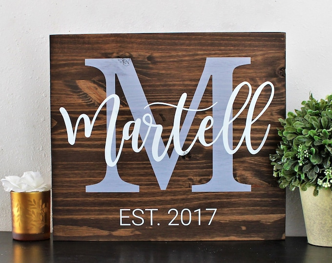 Last Name Sign-Monogram Sign-Mother's Day gift-Family Name Sign-Established Sign-Personalized Wedding Gift-Wedding Sign-custom wood Sign