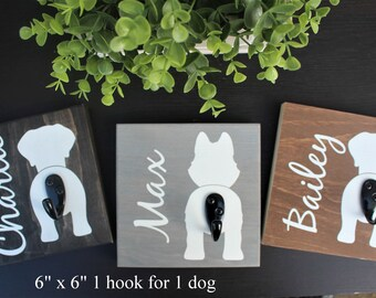 Dog leash holder for wall-personalized wood dog leash holder-dog butt-dog leash hanger-gift for new puppy-custom dog leash holder-wall dog
