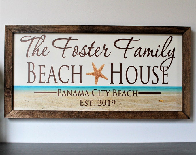 Personalized beach house sign-for beach house-decor-custom beach house sign gift-plaque-beach cottage beach theme-shore house decor coastal