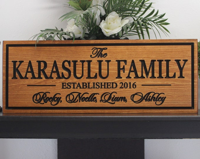 Family sign with names-last name and member sign-personalized family name sign-established engraved wood wooden signs custom