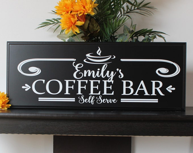 Coffee bar sign-kitchen decor-art-kitchen coffee station-personalized coffee sign-wooden-kitchen coffee theme-coffee lover's gift-bar shelf