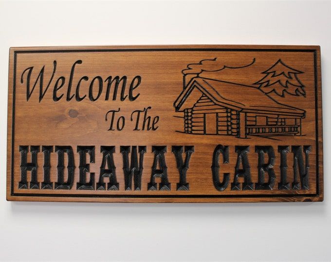 Personalized cabin sign for cabin decor-cabin wood sign-welcome to our cabin art-Custom cabin signs-engraved cabin sign-cabin decor