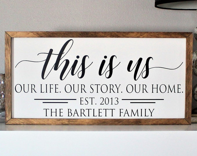 Family name sign, this is us wood sign, last name sign, family wall art, above couch decor, wood framed sign, wood family sign, housewarming