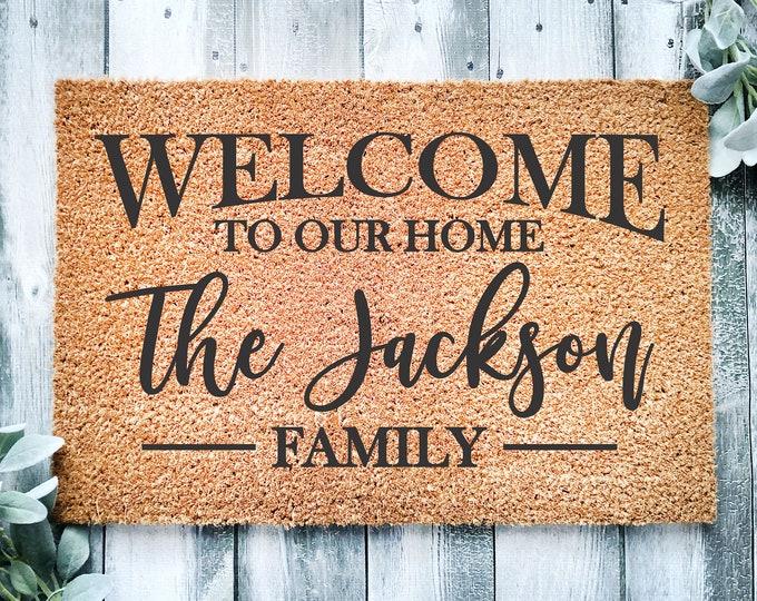 Personalized welcome doormat-new home gift-door mat-custom doormat-housewarming gift-front door mat-realtor closing gift