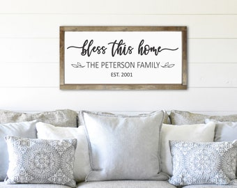 Bless this home-bless our home-wall decor-family gift idea-plaque-personalized home sign-last name sign