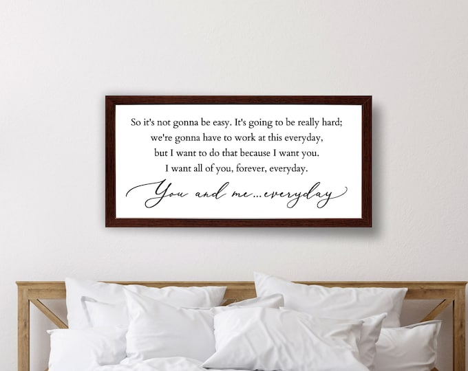 So it's not gonna be easy sign-master bedroom wall decor over the bed-master bedroom signs above bed-wall decor bedroom-bridal shower gift