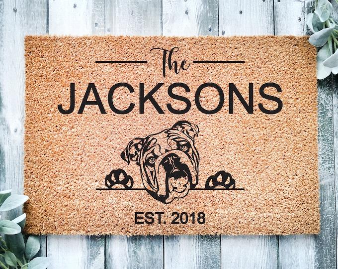 Welcome doormat-English bulldog-personalized doormat rug-family name doormat-funny dogs-custom doormat-family gift-entrance rug