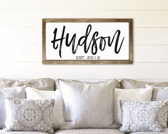 Family name framed sign-last name farmhouse sign-over the couch sign living room sign-wall decor-plaque-personalized home sign