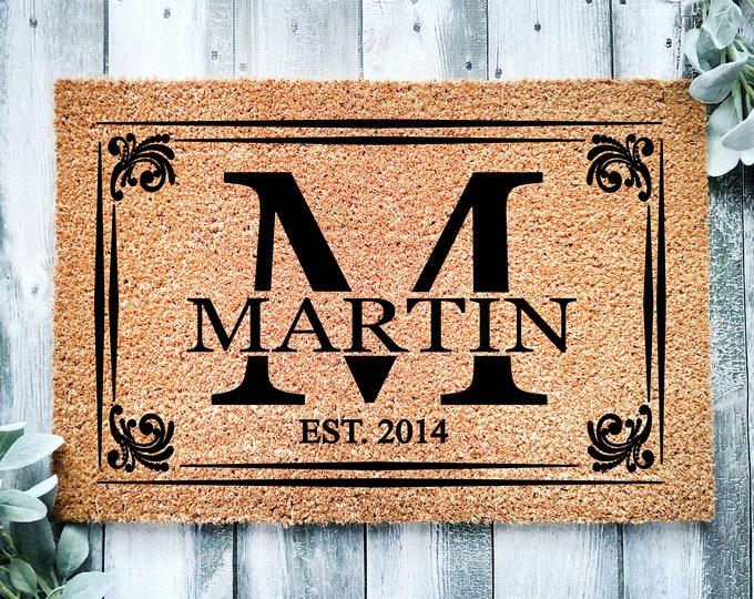 Last name doormat-entrance doormat-personalized mat-doormat-custom-welcome doormat-home door mat-family gift-monogram doormat-welcome mat-