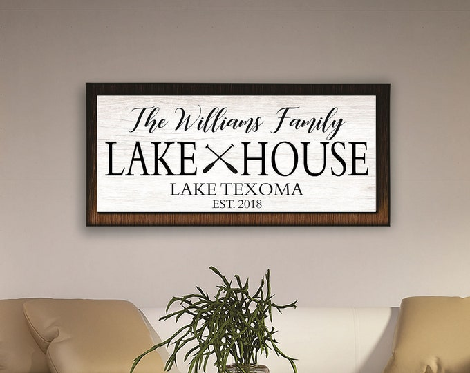 Custom lake house sign-lake signs-lake house decor-personalized lake house signs-framed lake house sign-cabin-cottage sign-custom beach sign