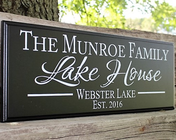 Personalized Lake House Sign-Lake House Decor wood lake sign-for lake house-wall sign-established lake house sign-custom lake house sign