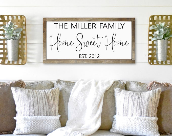 Home sweet home sign-new home sign-housewarming gift-wall art-wood sign-personalized family name home sweet home-new homeowners
