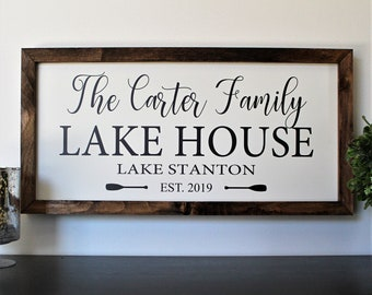 Personalized Beach House Sign Beach House Decor Cabin Sign Outdoor Custom Lake House Family Name