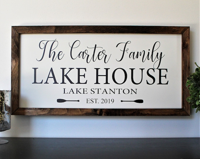 Personalized Lake house sign-gifts-decor-wood lake house established sign-custom lake house sign-lake house wall art-housewarming gift