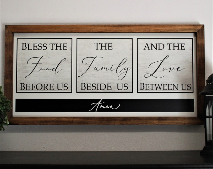 Bless the food before us sign-Kitchen wall decor art-dining room sign-dining room wall decor-kitchen wood sign-farmhouse kitchen