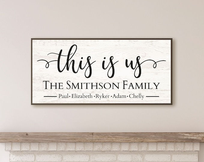 This is us wood sign personalized-sign for above couch-Family last name sign-family wall art-wood framed sign-wood family sign-housewarming