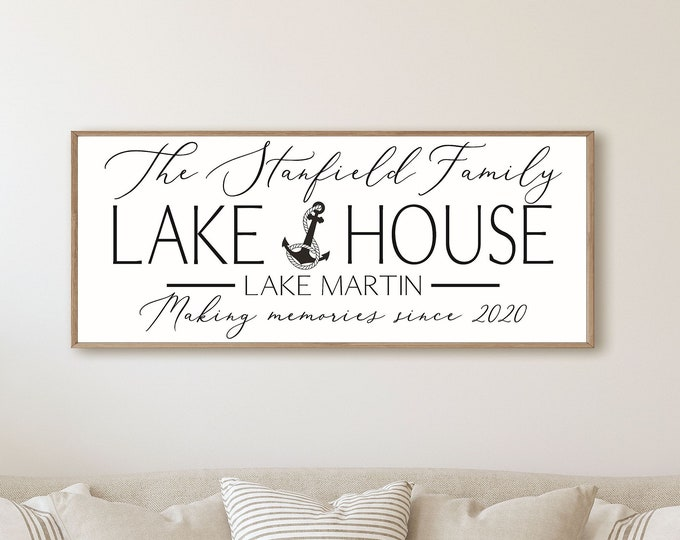 Lake house sign-personalized Lake house gift-lake decor-established sign-Custom lake house signs-home on the by the lake gift-lakehouse sign