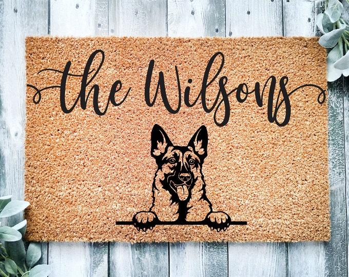 Welcome doormat-german shepherd-personalized doormat rug-family name doormat-funny dogs-custom doormat-family gift-entrance rug