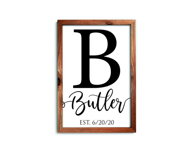 Framed wooden family name sign-housewarming-personalized wedding gift-farmhouse sign-family name sign-home sign-family gift ideas