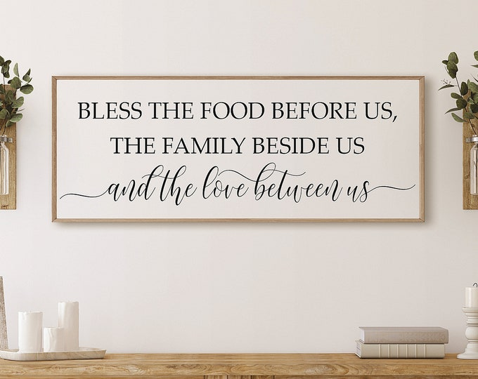 Bless the food before us wood sign-dining room wall decor-mothers day gift-kitchen wall decor-kitchen signs-bless this food-wall prayer sign