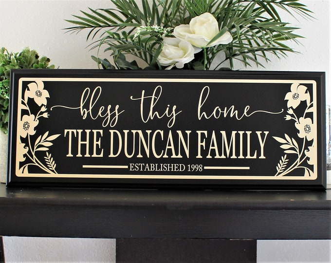 Family established sign wood-bless this home-bless our home-wall decor-family gift idea-plaque-personalized home sign-last name sign