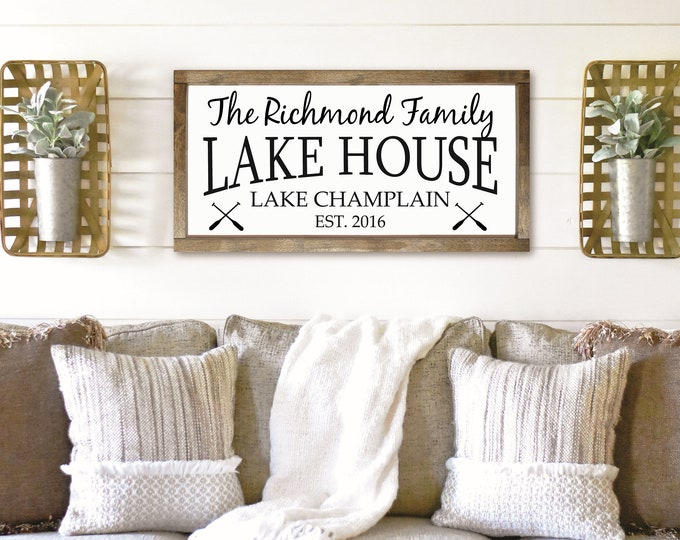 Personalized lake house sign-cottage-custom lake house sign-decor cabin-vacation home-lodge sign-life is better at the lake-wood lake sign