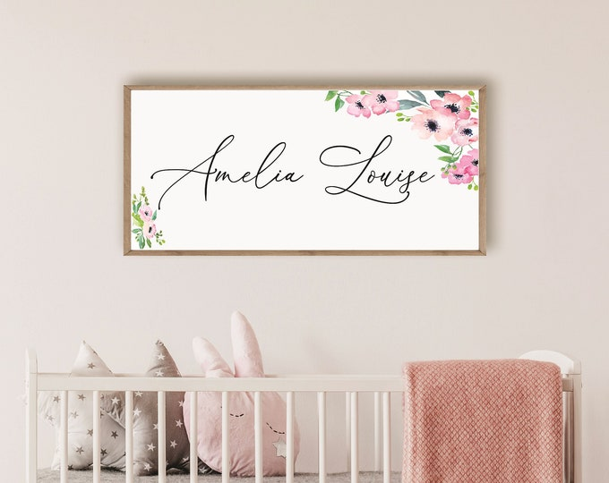 Baby name sign-Nursery sign-above the crib sign-above the crib decor-Baby's room decor-new baby gift-nursery wall art-nursery decor-girl-boy