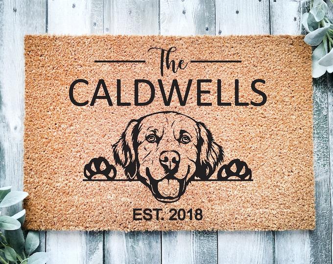 Welcome doormat-golden retriever-personalized doormat rug-family name doormat-funny dogs-custom doormat-family gift-entrance rug