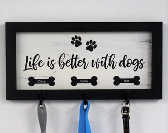 Dog leash holder for wall-personalized wood dog leash holder-gift for dog owner-dog leash hanger-custom dog leash holder-wall dog