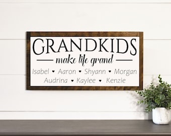 Gift for Grandparents-sign with names-grandchildren sign personalized-Grandma gift-Grandchildren Make Life Grand Wood Sign-Grandparent Gift