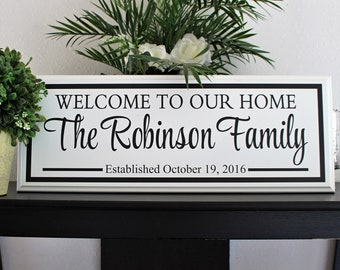 Welcome sign-for home-family name welcome sign-welcome to our home sign-custom wood welcome sign-housewarming gift-hanging welcome sign