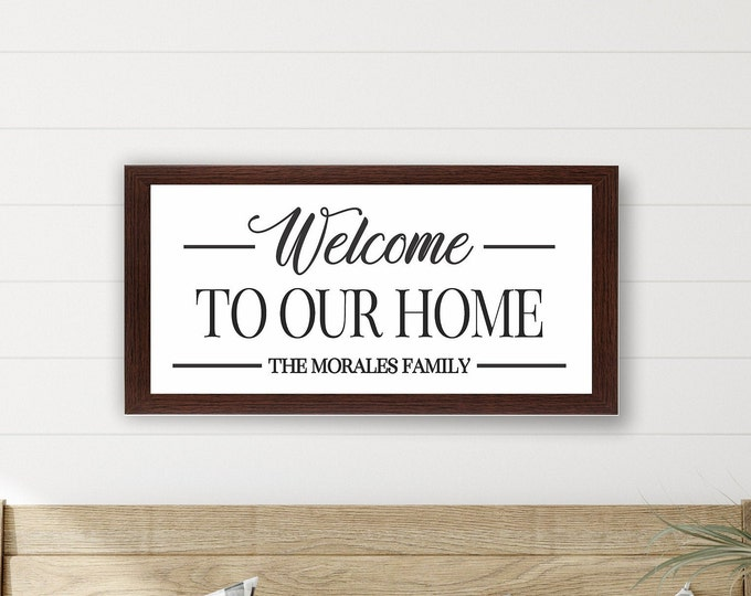 Personalized welcome sign-wood-foyer decor welcome to our home sign-welcome plaque-home-foyer welcome sign-family wall sign-family name sign
