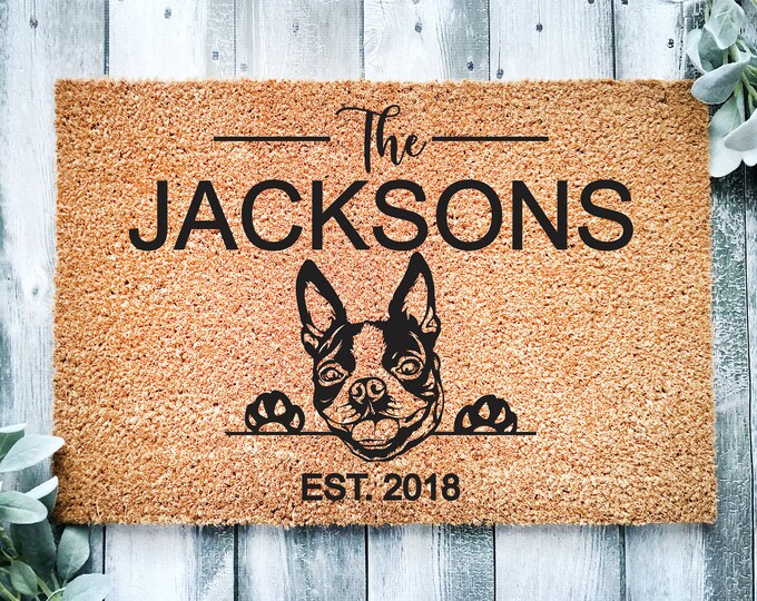 Welcome doormat-Boston Terrier-personalized doormat rug-family name doormat-funny dogs-custom doormat-family gift-entrance rug