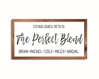 Blended family wedding gift-the perfect blend sign-blended family sign-blended family name sign-home sign