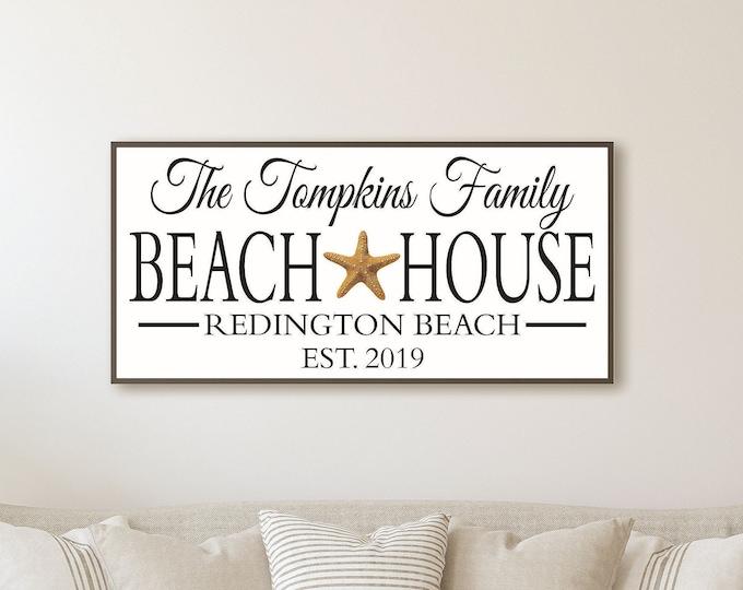 Personalized beach house sign, beach house decor, beach sign, beach cottage custom beach theme, shore house decor coastal, beach house gift