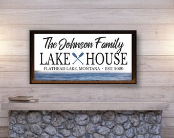 Lake house sign personalized-sign for lake house wood sign-lake house wall sign-decor-custom lake sign-family lake house sign