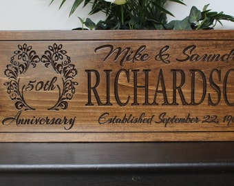 Personalized 50th Anniversary Gift for parents-50th wedding anniversary gifts-Wooden Anniversary Gift-50th Anniversary Plaque-golden