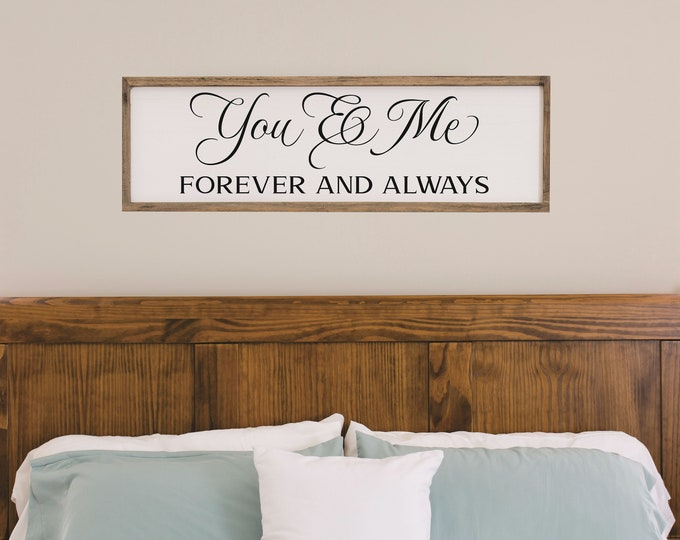 Wedding gift for couple-wall art for a bedroom-you & me sign-above bed-wall decor over the bed-master bedroom sign