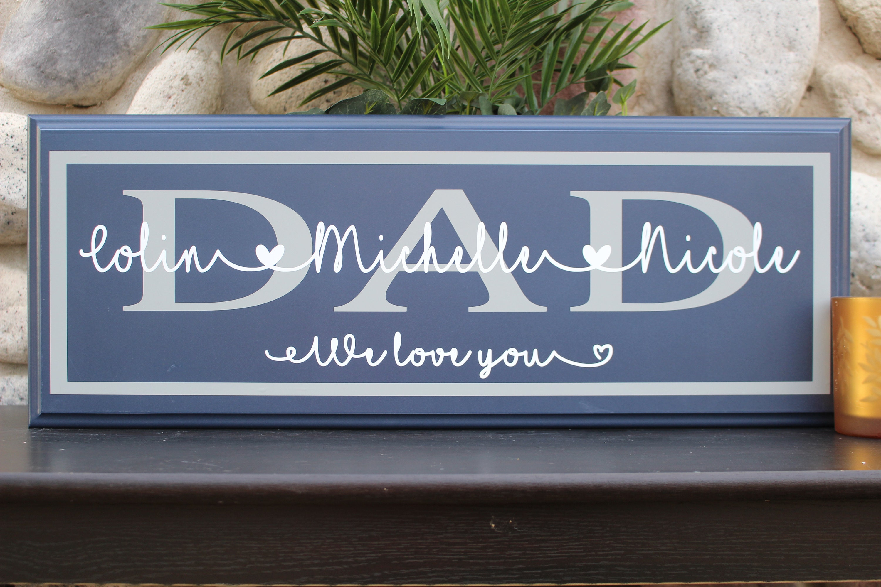 Gift For Dad Idea Grandpa Stepdad Birthday Grandparent Personalized Wall Sign Single Custom