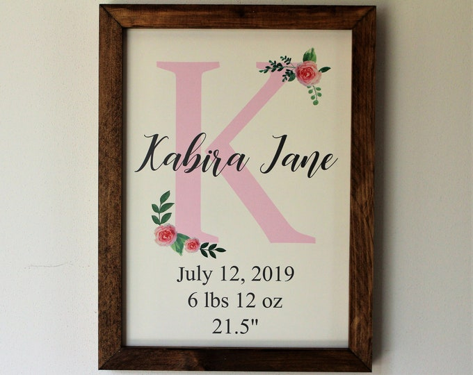 New baby name sign-for nursery-room decor personalized-new baby girl boy gift-baby gift-ideas-baby stats wall sign-new mom gift