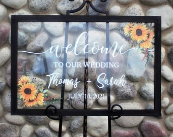 Wedding welcome sign-welcome to our wedding sign-for wedding entrance ceremony-with sunflowers-acrylic-personalized sign for wedding-decor
