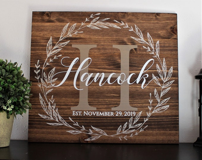 Monogram Sign-Last Name Sign-Mother's Day gift-Family Name Sign-Established Sign-Personalized Wedding Gift-Wedding Sign-custom wood Sign