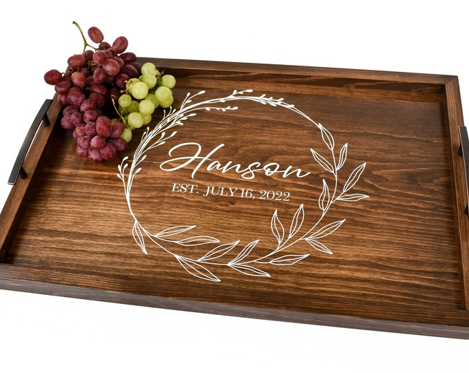 Personalized wedding gift-serving tray with handles personalized wood-breakfast tray bed-anniversary gift-serving tray for gift-coffee tray