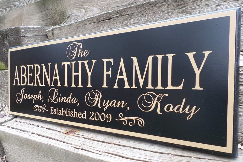 Personalized family established wood sign-Last name  d6d53734971b