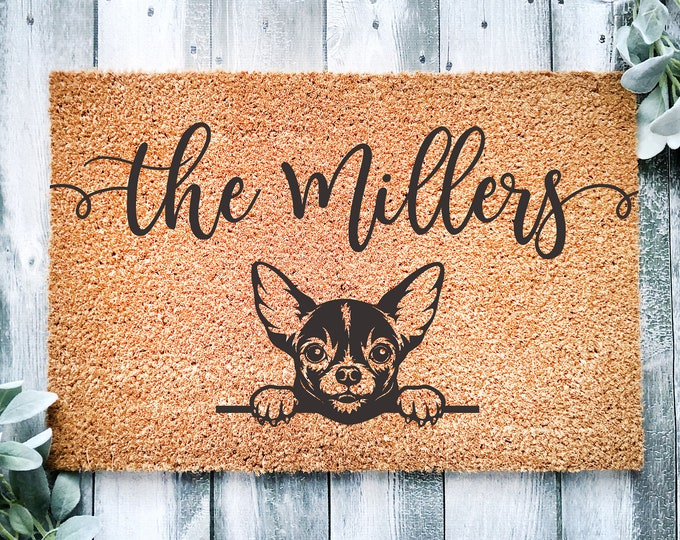 Welcome doormat-chihuahua-personalized doormat rug-family name doormat-funny dogs-custom doormat-family gift-entrance rug