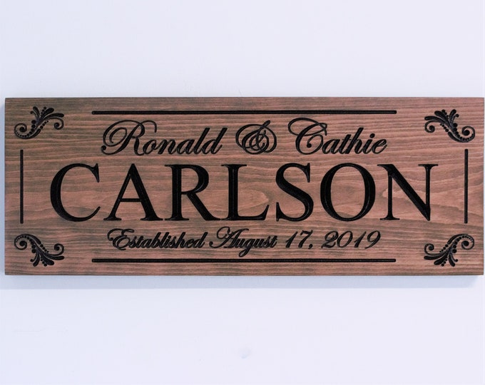 Personalized wedding gift for couple-personalized engagement gift-present-plaque-marriage gift-established wedding gift sign-date sign idea