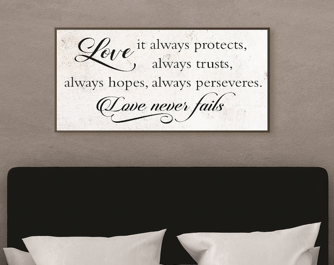 Love never fails sign-master bedroom wall decor-over the bed-1 Corinthians 13 sign-bedroom wood sign-for above bed-wedding gift
